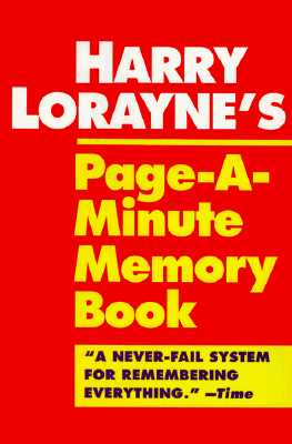 Harry Lorayne's Page-A-Minute Memory Book By Lorayne, Harry